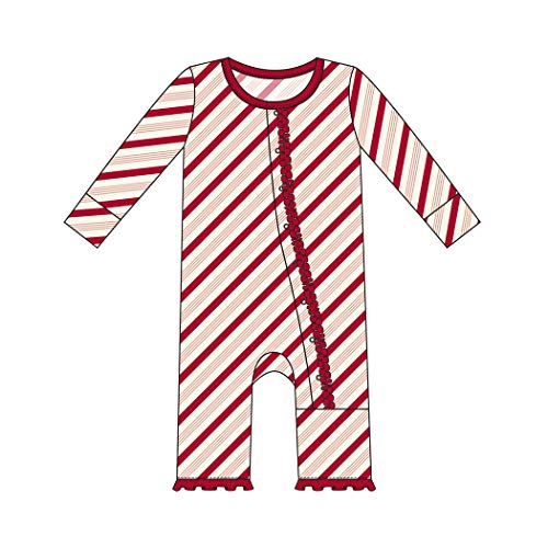 - Kickee Pants Little Girls Holiday Print Muffin Ruffle Coverall with Snaps - Rose Gold Candy Cane Stripe, 3-6 Months