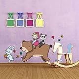 """Stickers muraux pour enfants imprimé sur papiers peints Wall Art """"Masha et Michka avec le lapin"""" 60x73 cm"""