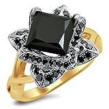 Smjewels 2.0 Ct Black Princess Cut Lotus Flower Sim.Diamond Engagement Ring 14K Yellow Gold Fn