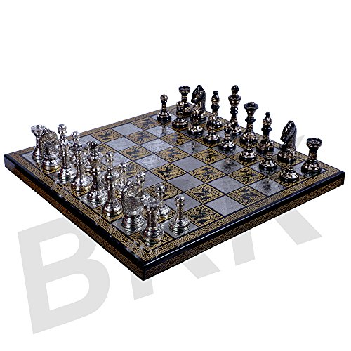 BRK HANDICRAFT Antique Chess Board Set Brass Collectible Game Board Handmade Large Pieces 10 X 10 Inches 10 Inch Chess Set