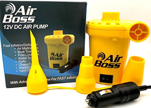 AIR BOSS 12V DC Air Pump for Inflatables, 1,000 Liters (264 Gallons) of Air Per Minute, Inflates 3-4 Times Faster Than Similar Looking Pumps, 2019 Enhanced, Mattress, Boat, Raft, Pool Floats, Airbed