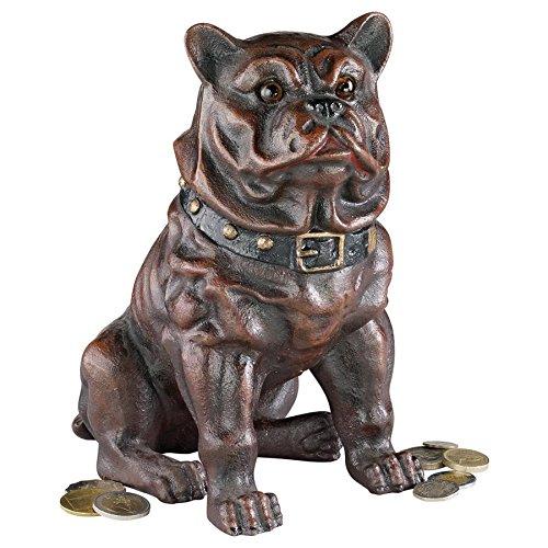 Design Toscano Boss, the Sitting British Bulldog Collectors' Still Action Die-Cast Iron Coin Bank
