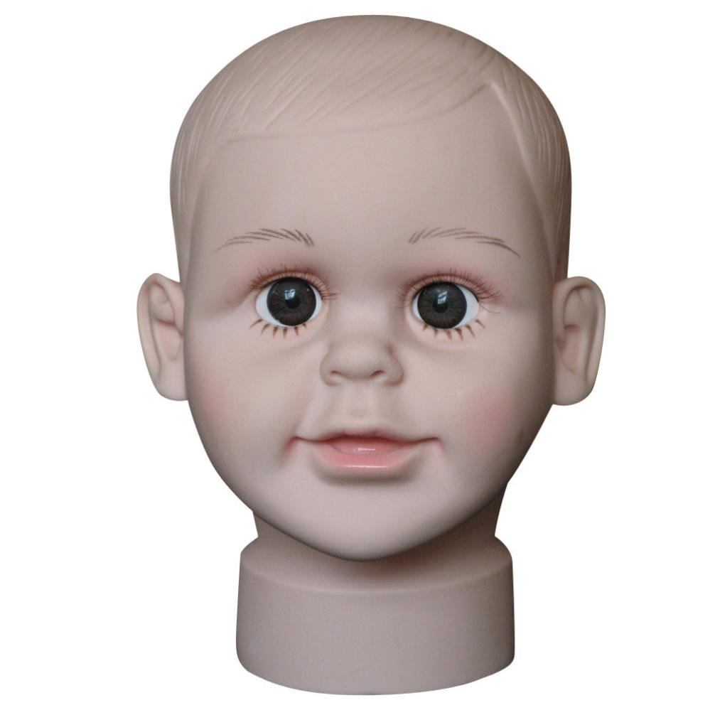 Fabal Child Mannequin Manikin Head Model For Wig Hat Mould Show Stand Display (Small, Fleshcolor)