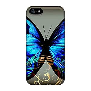High Grade NikRun Flexible Tpu Case For Iphone 5/5s - Butterfly Blue Jewelry
