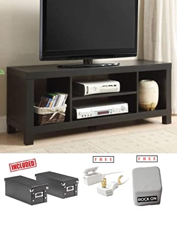 Cross Mill TV Stand for Flat Screen TV up to 42 in Black Oak Finish with Extra Free