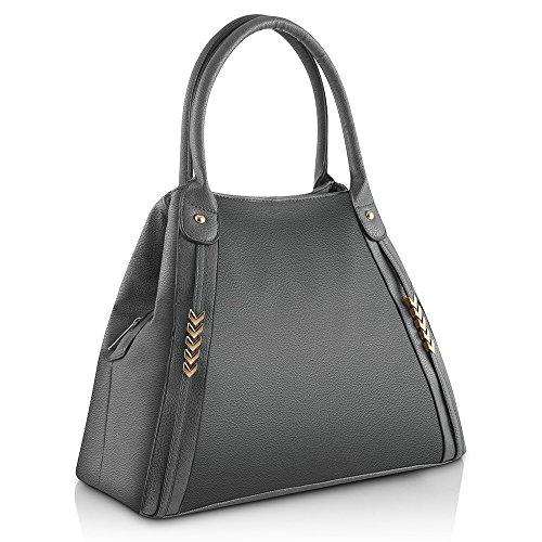 TERAUT Multi-pocket Personalized Handbag PU Leather New Oblique Satchel Practical Purse (Multi Pocket Top Handle Satchel)