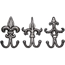 SET OF 3 - Cast Iron Fleur De Lis Double Wall Hooks / Hangers - Decorative Wall Mounted Coat Hook - Rustic Cast Iron - With Screws And Anchors by Comfify