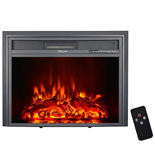HollyHOME 35'' Wall Mounted Glass Electric Fireplace