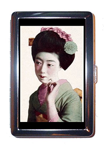 Japanese Geisha Girl in Green Kimono Antique Art Stainless Steel ID or Cigarettes Case (King Size or 100mm) (Japanese Kimono Antique)