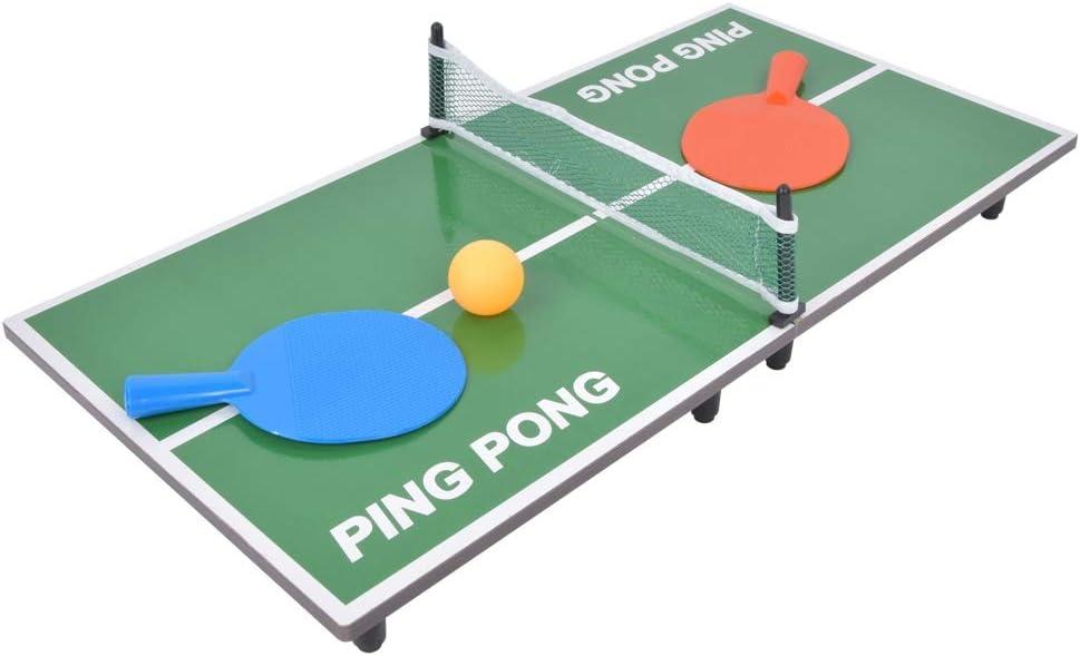 Juego de tenis de mesa, Mesa de juego de tenis de mesa interior mini Mesa de ping pong plegable Juguete de entretenimiento para padres e hijos - Incluye red, raqueta, pelota, pie de mesa, marco de red