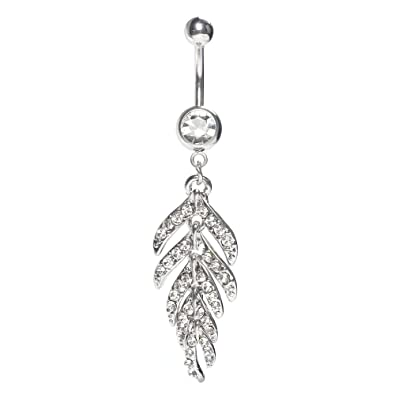 Bodya 14g Surgical Steel Jeweled Feather Cz Crystal Dangle Belly Button Ring Leaf Navel Ring Piercing