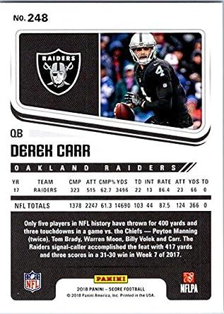 new concept ab9e5 4e81a 2018 Score #248 Derek Carr Oakland Raiders Football Card