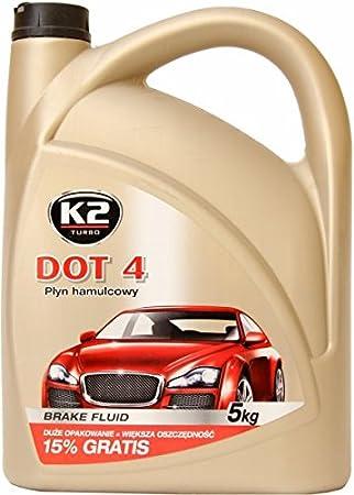 Líquido de frenos DOT 4 de K2, totalmente sintético, miscible con las clases DOT 3 y DOT 4, 5 kg (aprox. 5 l): Amazon.es: Coche y moto