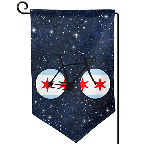 Chicago Flag Bicycle Printed Outdoor/Indoor Decorative Flag Festival Garden Flag 12.5