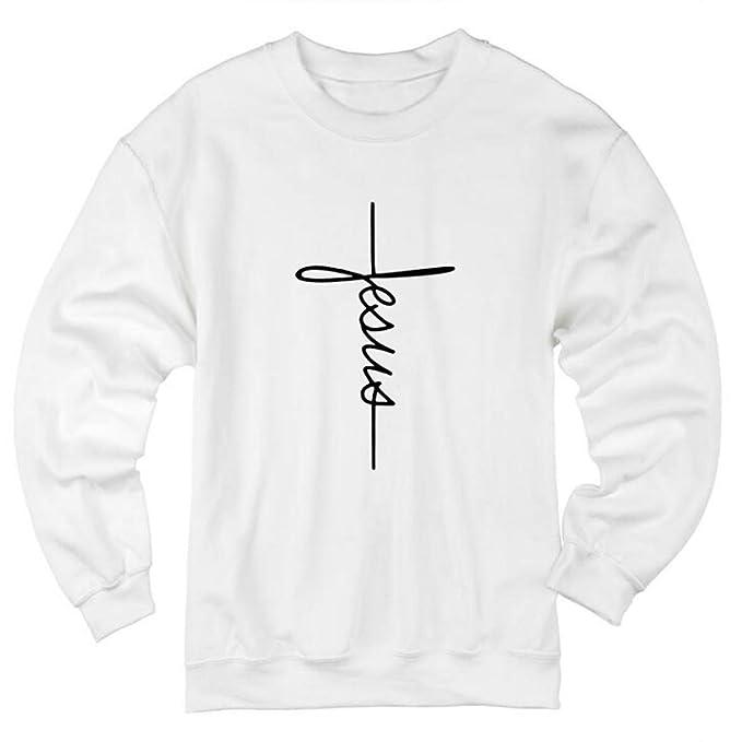 FVDVRGEA Jesus Cross Graphic Sweatshirt Crewneck Long Sleeve Streetwear Sudaderas con ca: Amazon.es: Ropa y accesorios
