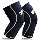 Blitzu POWER+ Knee Compression Sleeves Support for Running, Jogging, Basketball, Sports, Joint Pain Relief, Arthritis and Injury Recovery - 1 Pair Wrap Leg Brace Protection (Black XL)