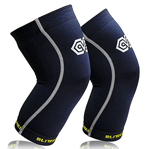 Blitzu Power + Compression Knee Brace for Joint Pain, Meniscus Tear, ACL, MCL and Arthritis Relief, Improve Circulation Support for Running, Gym Workout, Recovery Best Sleeves Patella Stabilizer Pad M