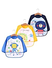 Unisex Infant Toddler Baby Waterproof Sleeved Bib, Apron, Cute animals, Set of 3, 6-36 months Baby Product (A)