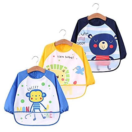 Unisex Infant Toddler Baby Waterproof Sleeved Bib, Apron, Cute animals, Set of 3, 6-36 months Baby Product (A) 4G-Kitty
