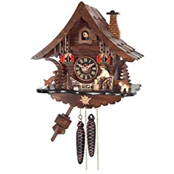 River City Clocks One Day Cuckoo Clock Cottage with Man Chopping Wood