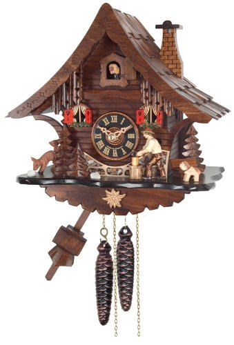 River City Clocks One Day Cuckoo Clock Cottage with Man Chopping ()