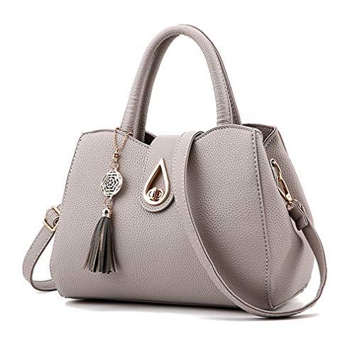 Pahajim Women PU leather Tote Bags Small Satchel Purses Shoulder Tassel Handbags (light Grey)