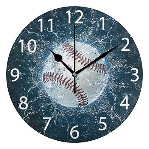 (senya Baseball Round Wall Clock, Silent Non Ticking Oil Painting Decorative for Home Office School Clock Art)
