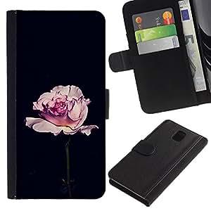A-type (Rose Black Romantic Minimalist Flower) Colorida Impresión Funda Cuero Monedero Caja Bolsa Cubierta Caja Piel Card Slots Para Samsung Galaxy Note 3 III