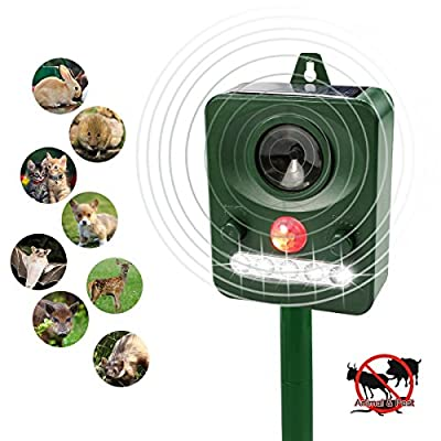 TedGem Ultrasonic Animal Repeller, Solar Powered Pest Repellent Outdoor Waterproof Animal & Pest Repeller with Motion Sensor LED Flashes For Farm Yard Protection,Repel Mouses, Cats,Foxes,Birds,etc