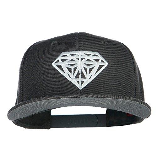 E4hats Wool Cap (Big Diamond Embroidered Flat Bill Cap - Grey OSFM)