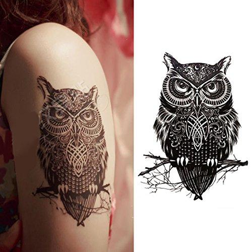 Oottati Tatuajes Temporales Muslo Brazo Búho (2 hojas): Amazon.es ...