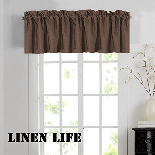 Thermal Insulated Heavy Faux Linen Curtain Valances Matched with Panels, Rod Pocket Window Valance,52 by 18 - Inch, Cocoa Brown,1 Panel
