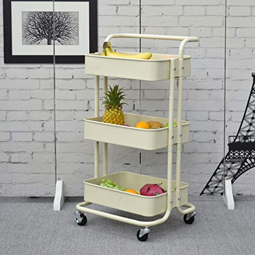Iris'Home 3-Tier Metal Rolling Utility Cart with Handles, Art Storage Cart, Makeup Cart with Wheels, Lash Cart Organizer, Book Cart, Bathroom Cart, Beige