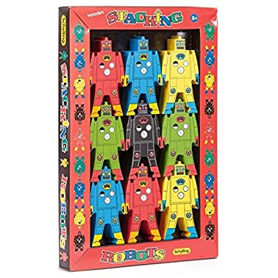 Schylling Wood Stacking Robots Puzzle: Toys & Games