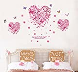 EMIRACLEZE Christmas Gift Creative Pink Heart and Butterflies Removable Mural Wall Stickers Wall