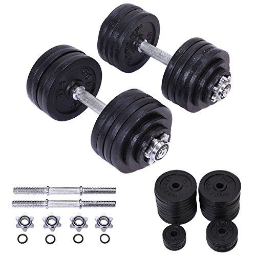 2 x 52.5 LB Weight Dumbbell Set Adjustable Cap Gym Barbel...