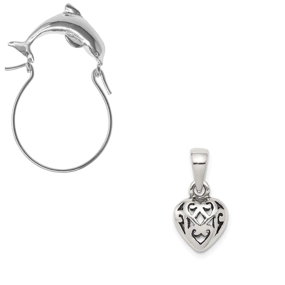 Mireval Sterling Silver Antique Puff Heart Charm on an Optional Charm Holder