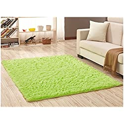 "Ultra Soft Bedroom Carpet,Decorative Sitting Room Shaggy Area Rug, Fluffy Kids Playing Pad with Anti-Slip Bottom,Water Absorbent & Quick Dry Area Rug (Lime Green,31"" x 62"")"