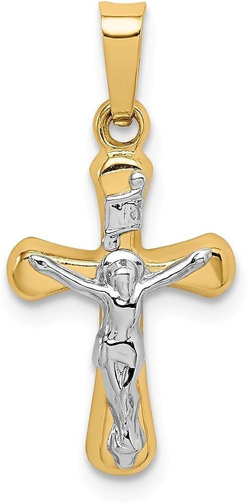 14k Yellow Gold Polished INRI Rounded Crucifix Pendant