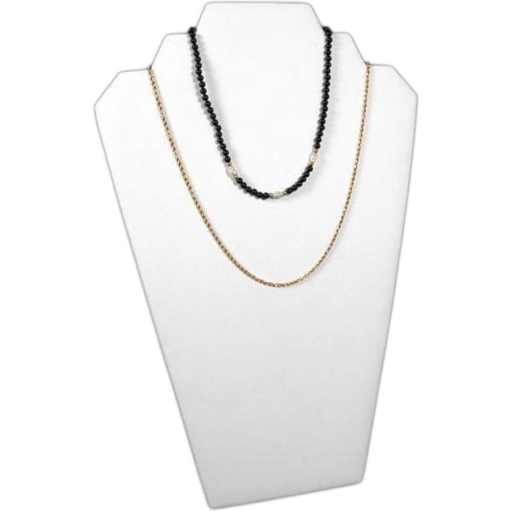 White Leather Padded 2 Tier Necklace Pendant Bust Showcase Display 12.5 60-1LW