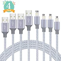 Lightning Cable,DEKEAN iPhone Cable 4Pack 3FT 6FT 6FT 10FT to USB Syncing and Charging Cable Data Nylon Braided Cord Charger for iPhone 8/8 Plus 7/7 Plus/6/6 Plus/6s/6s Plus and more (Grey&White)