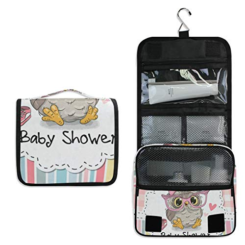 Baby Shower Cartoon Owl Large Capacity Hanging Toiletry Bag for Men & Women, Portable Waterproof Bathroom Shower Bag, Lightweight Dopp kit Shaving Bag, Sturdy Metal Hook Organizer Makeup Bag
