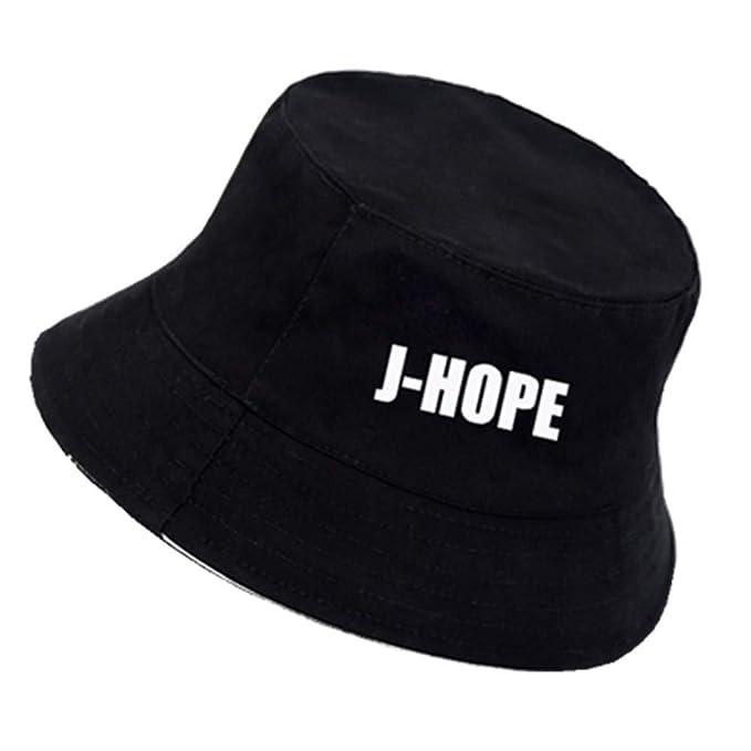 Kpop BTS Bangtan Boys Black White Bucket Hats Panama Hats for Men and Women  (Black 211cd1010