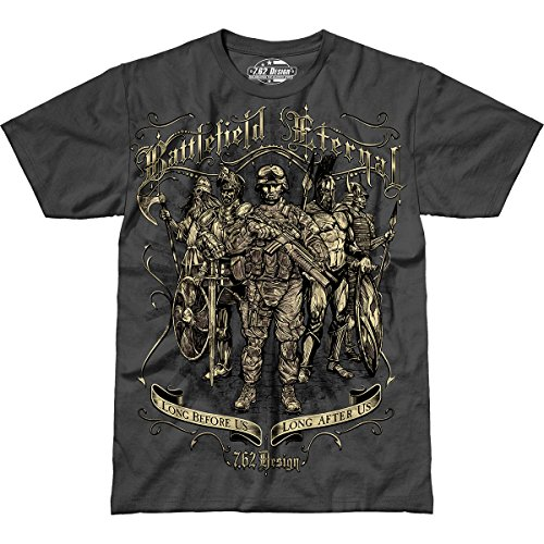7.62 Design 'Battlefield Eternal' Men's Jumbo Print T-Shirt Charcoal LG