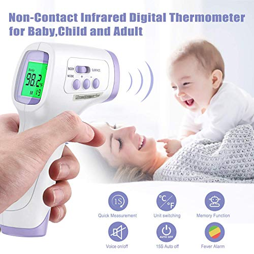 Infrared Forehead Thermometer for Adults and Baby + 30PCS Disposable Face Masks Breathable 3-Ply Non-Woven Individually Wrapped