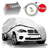 #5: Car Cover SUV Cover - 5 Layers Windproof Waterproof for Indoor Outdoor, All Weather Cover for Car, Windproof Ribbon & Anti-theft Lock, Fits up to 210