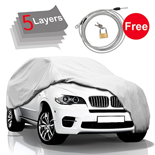 KAKIT 5 Layers Car Cover SUV Cover - Waterproof Windproof Cover for...