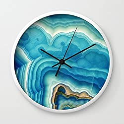 Society6 Blue Onyx Wall Clock White Frame, Black Hands