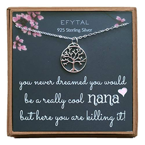 EFYTAL Mothers Day Grandma / Nana Gifts, 925 Sterling Silver Open Tree of Life Necklace for Grandmother, Mom Necklaces for Women, Best Birthday Gift Ideas, Mother's Day Jewelry For Her