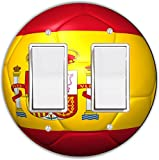 Rikki Knight RND-LSPROCKDBL-67 Spain Team World Cup Flag Soccer Ball Football Round Double Rocker Light Switch Plate